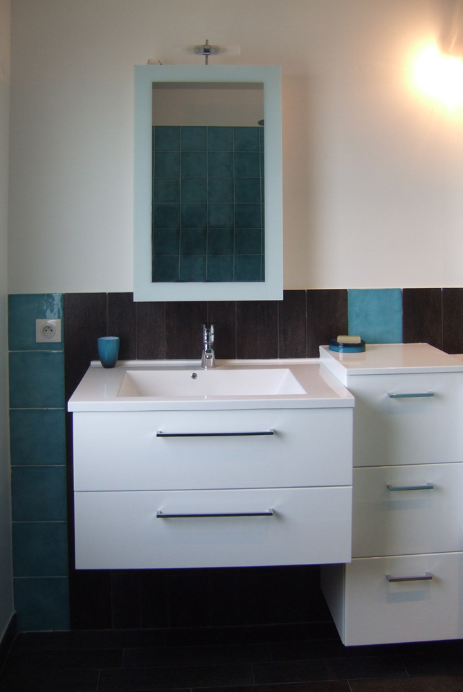 Beautiful salle de bain turquoise chocolat ideas awesome - Meuble salle de bain turquoise ...