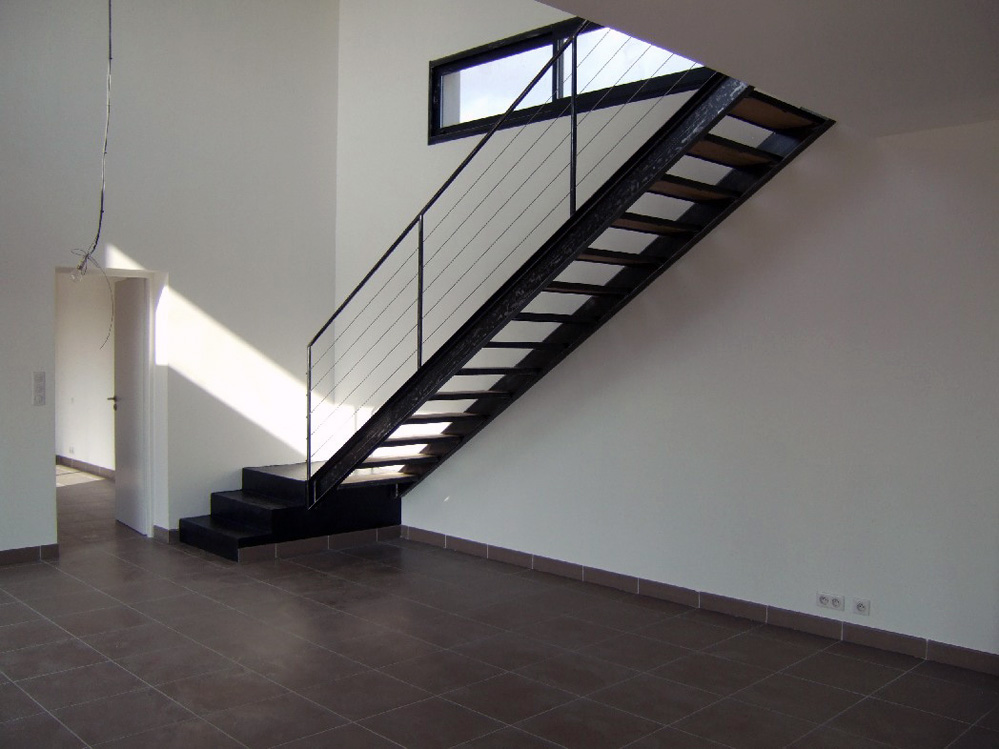 Atelier d 39 architecture ban gas villas villa 323 construction d 39 un - Escalier metal et bois ...
