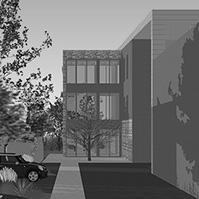Espace de stationnement et vue sur l'entrée du bâtiment principal<br />