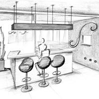 Etude d&rsquo;ambiance et de couleur de l&rsquo;espace bar avant réalisation.<br />