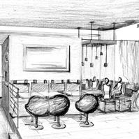 Etude d'ambiance et de couleur de l'espace lounge avant réalisation.<br />