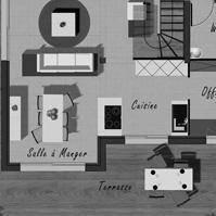 Plan du rez de chaussée de la maison 3 de type 4.<br />