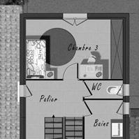 Plan de l&rsquo;étage de la maison 3 de type 4.</p>