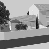 Perspective d&rsquo;ensemble des 3 maisons en bande traditionnelles côté rue.<br />