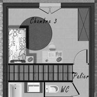 Plan de l&rsquo;étage de la maison 2 de type 4.<br />
