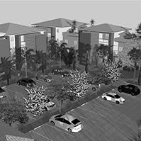 Vue aérienne du parking et de l'arrière des bâtiments<br />