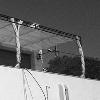 Terrasse et pergola métal et voile solaire.<br />