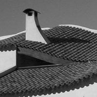 Détail de la toiture courbe en tuile.<br />