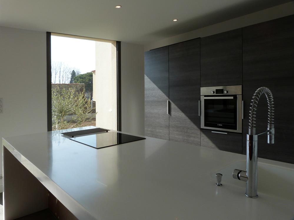 Atelier d 39 architecture ban gas villas villa cm villa for Cuisine avec baie vitree